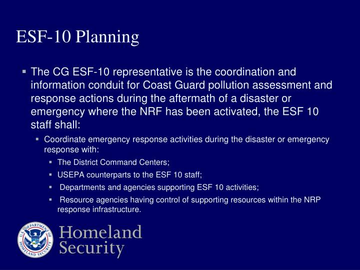 ESF-10 Planning