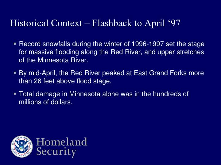 Record snowfalls during the winter of 1996-1997 set the stage for massive flooding along the Red River, and upper stretches of the Minnesota River.