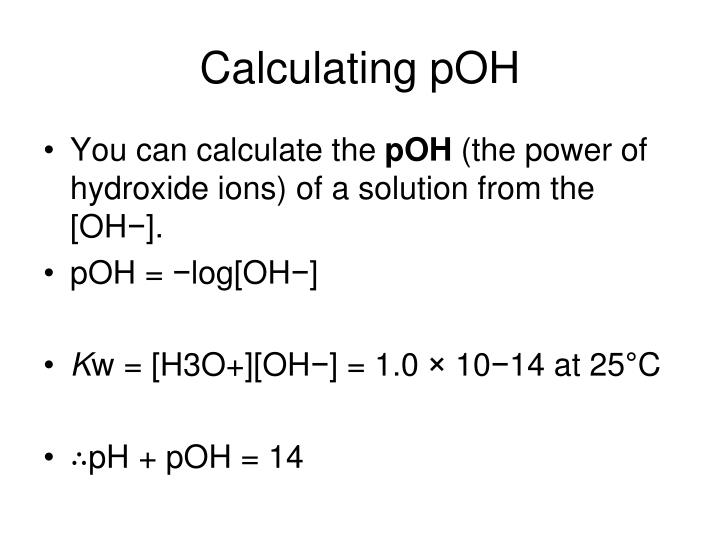 Calculating pOH