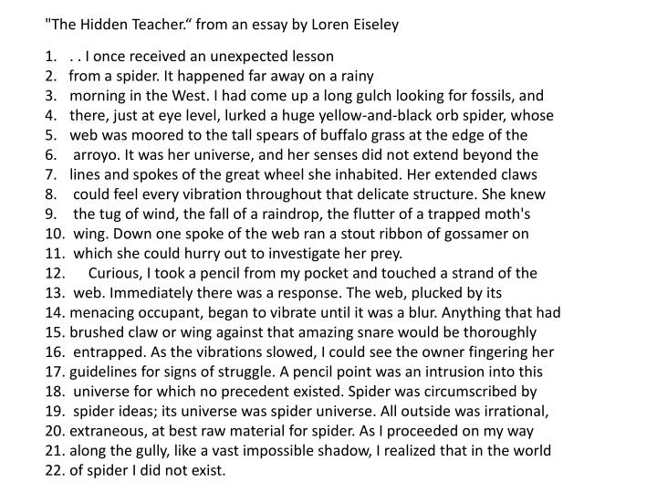 """The Hidden Teacher."" from an essay by Loren"