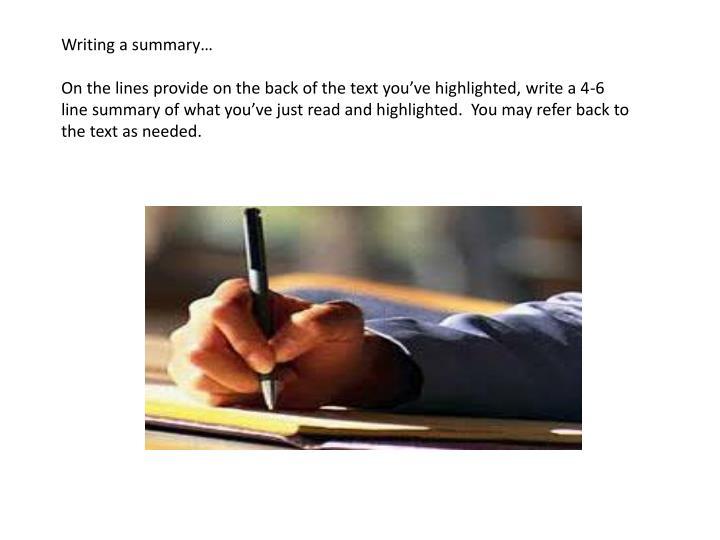 Writing a summary…