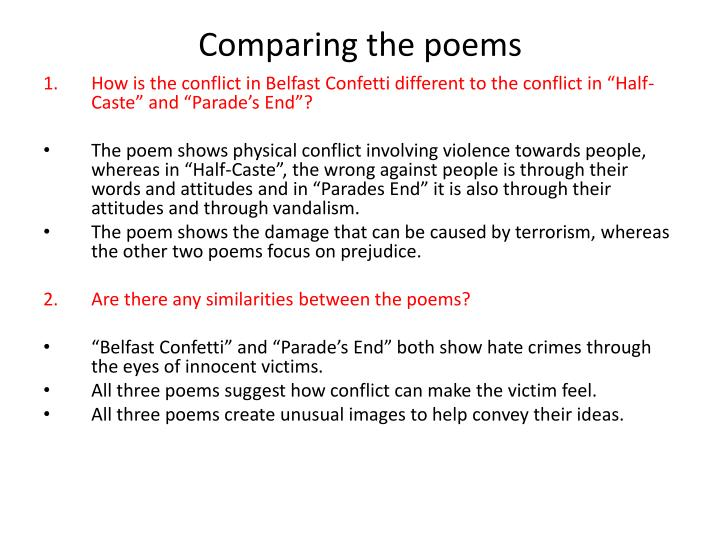 Comparing the poems