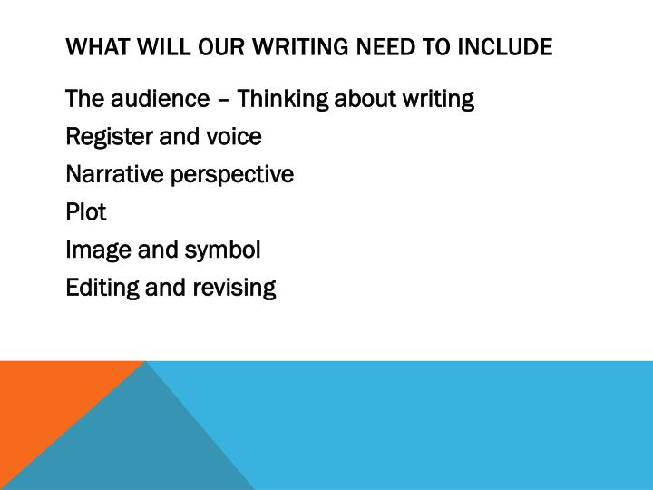 What will our writing need to include