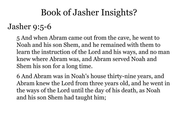 Book of Jasher Insights?