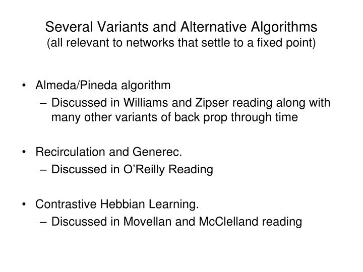 Several Variants and Alternative Algorithms