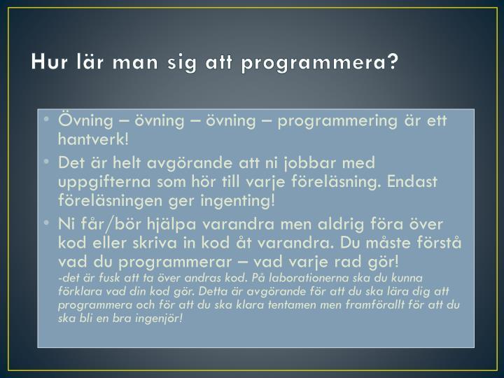 Hur lär man sig att programmera?