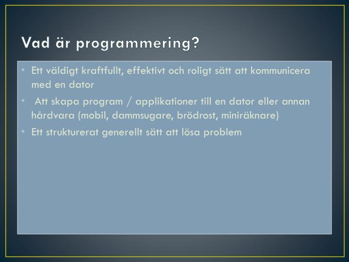 Vad är programmering?