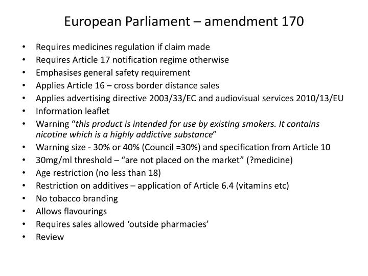 European Parliament – amendment 170