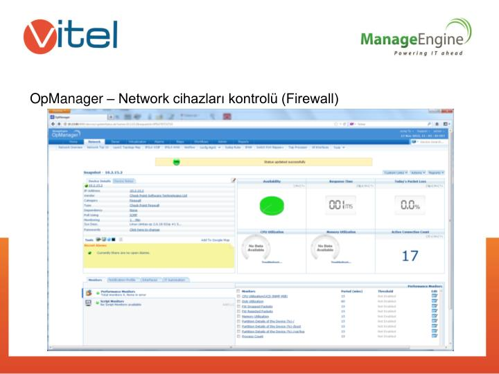 OpManager – Network cihazları kontrolü (Firewall)