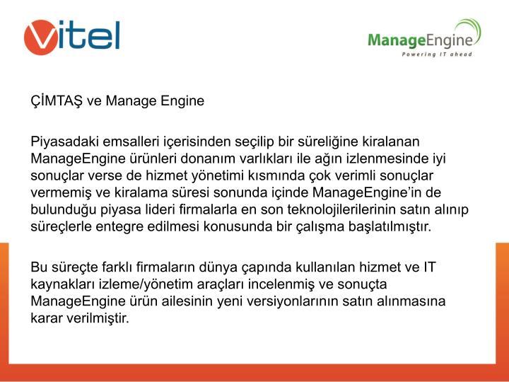 ÇİMTAŞ ve Manage Engine