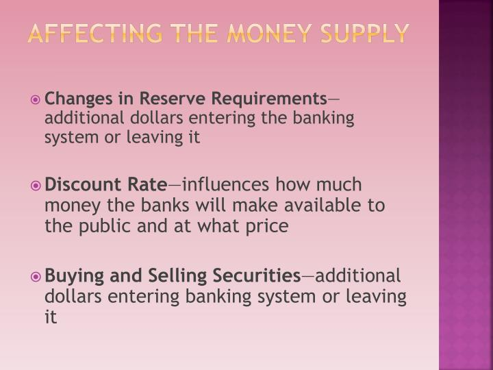Affecting the Money Supply