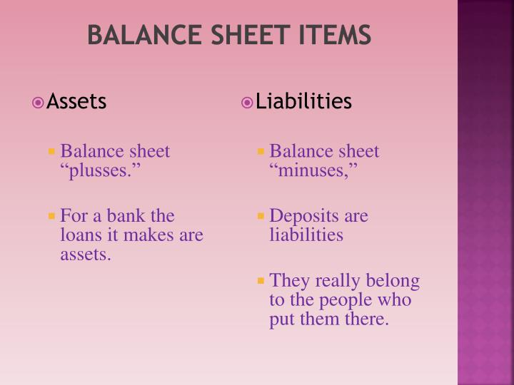 Balance sheet items