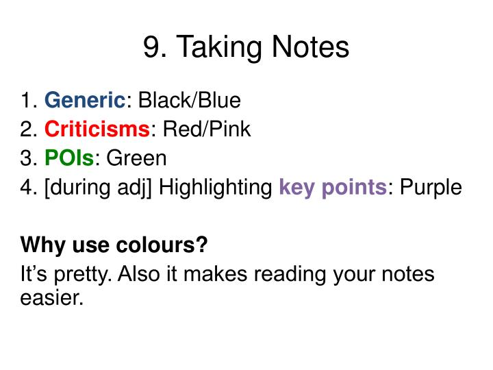 9. Taking Notes