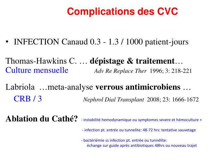 Complications des CVC