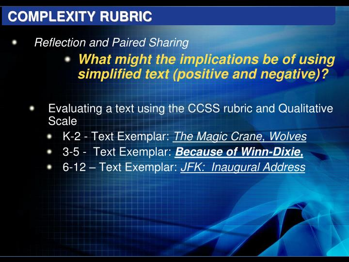 COMPLEXITY RUBRIC