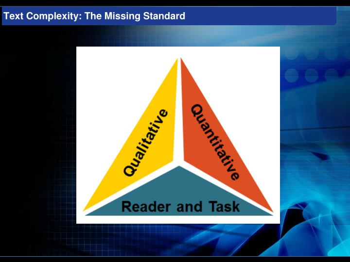 Text Complexity: The Missing Standard