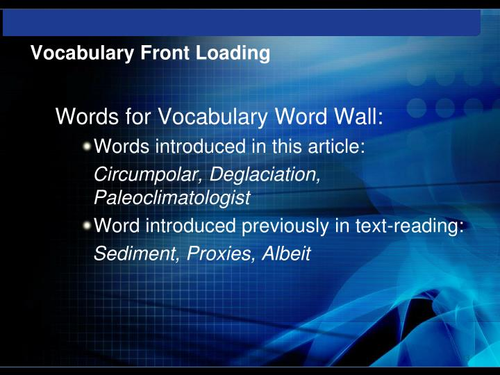 Vocabulary Front Loading