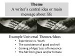 theme a writer s central idea or main message about life