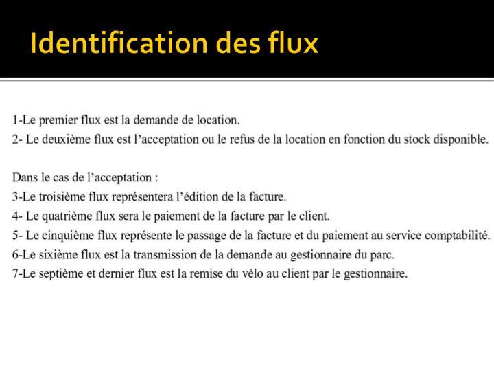 Identification des flux