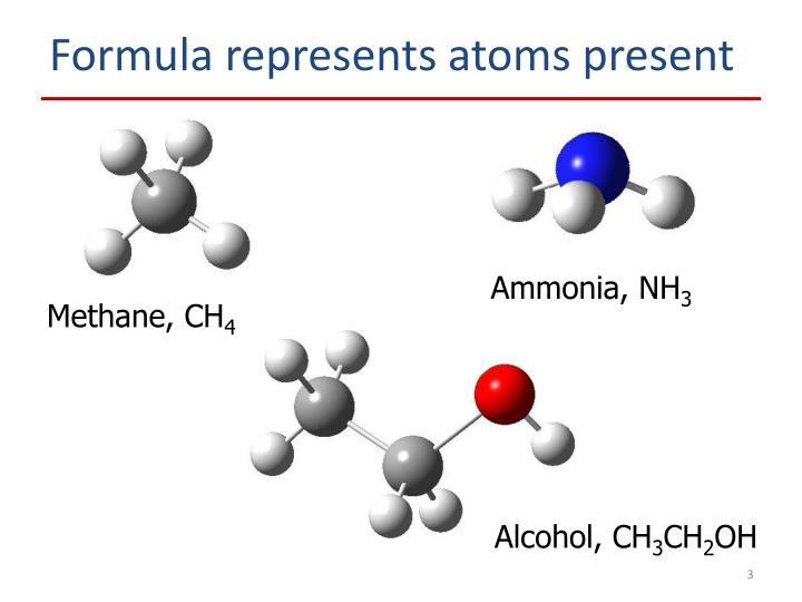 Formula represents atoms present