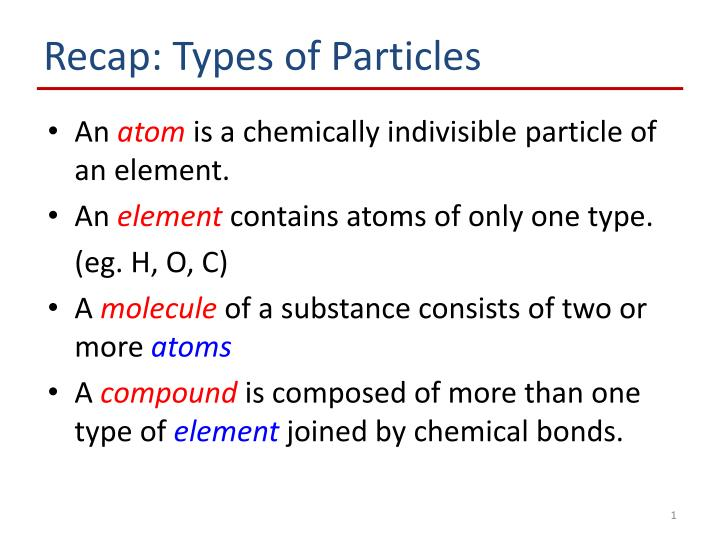 Recap: Types of Particles