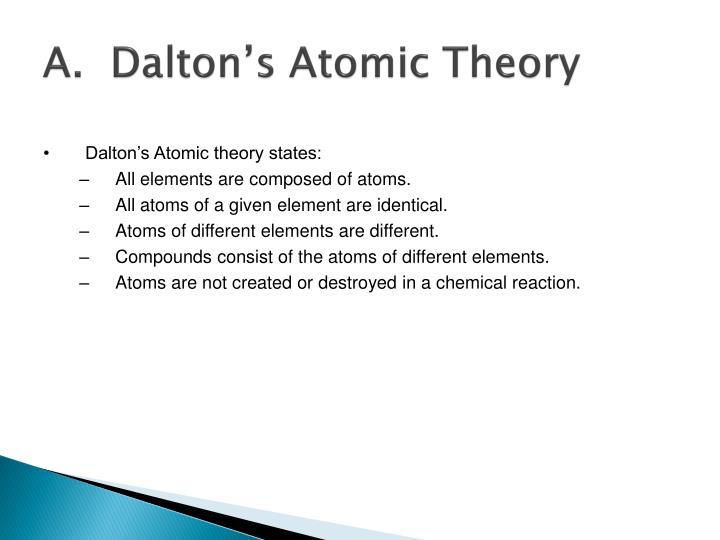 A.  Dalton's Atomic Theory