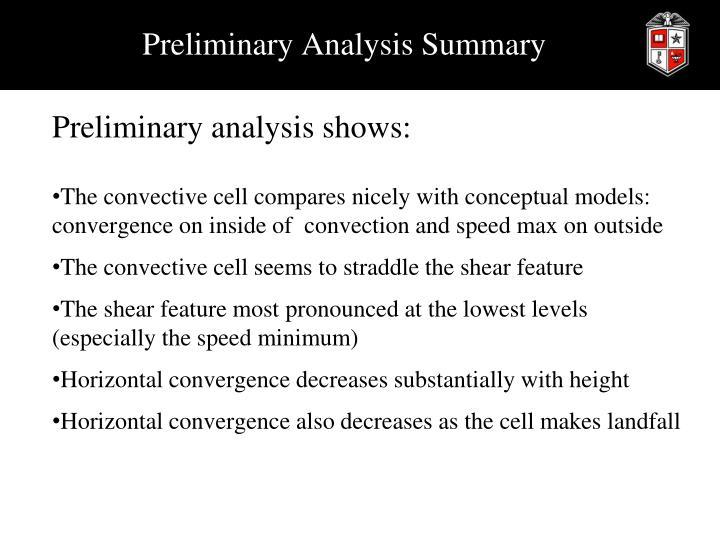 Preliminary Analysis Summary