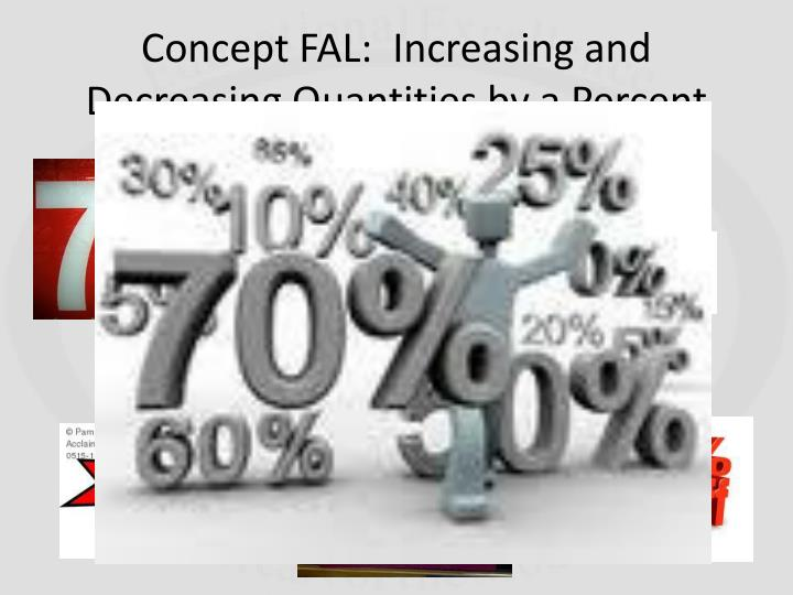 Concept FAL:  Increasing and Decreasing Quantities by a Percent