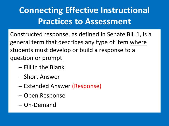 Connecting Effective Instructional Practices to Assessment