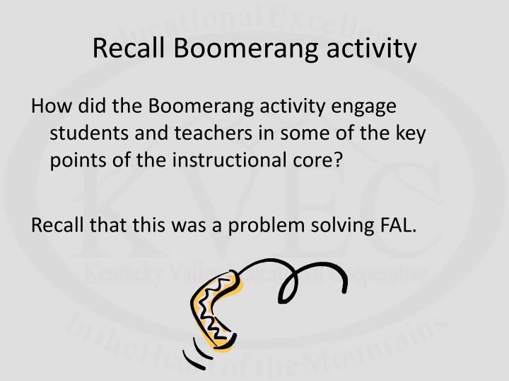 Recall Boomerang activity
