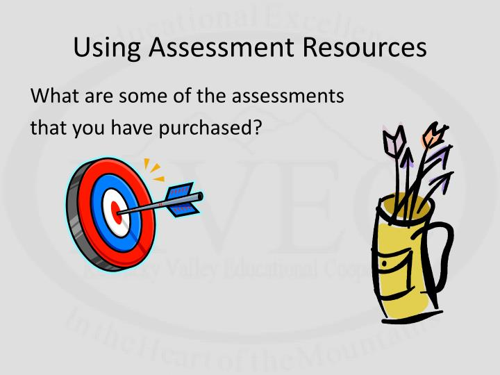 Using Assessment Resources