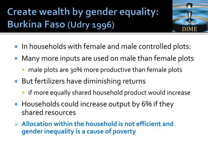 Create wealth by gender equality: