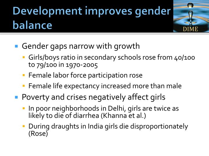 Development improves gender balance