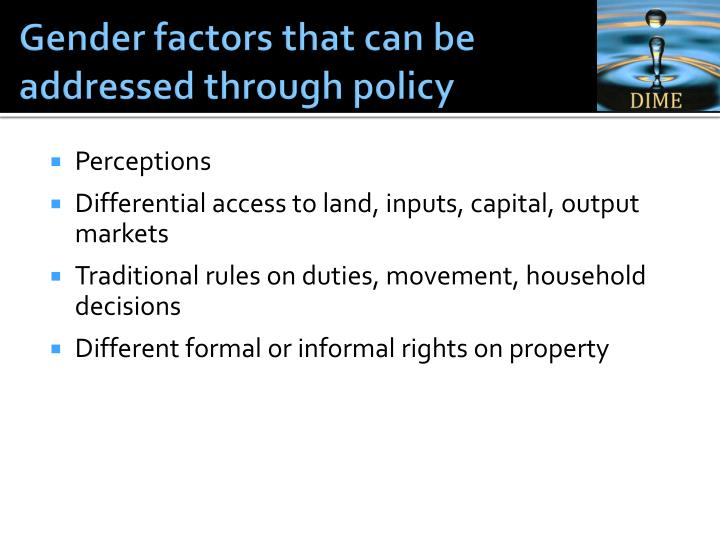Gender factors that can be addressed through policy