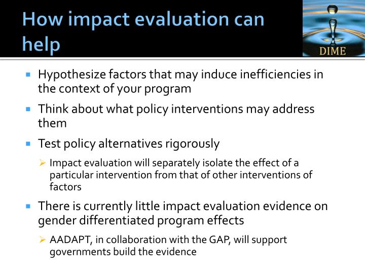 How impact evaluation can help