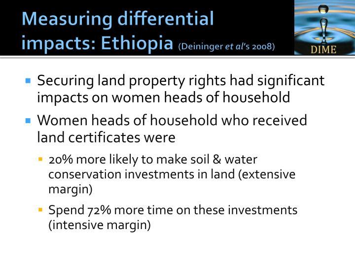 Measuring differential impacts: Ethiopia