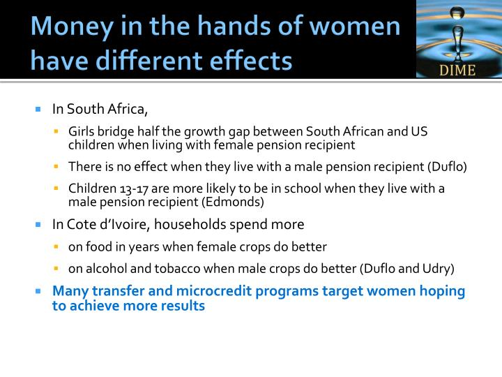Money in the hands of women have different effects