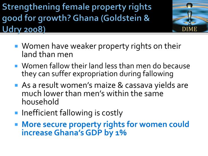 Strengthening female property rights good for growth?
