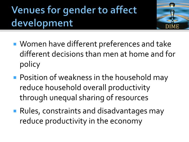 Venues for gender to affect development