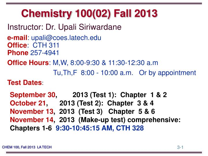 Chemistry 100 02 fall 2013
