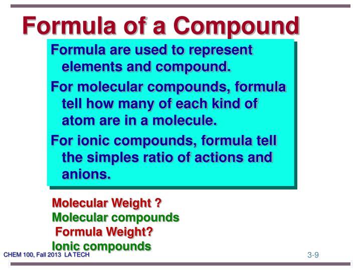 Formula of a Compound