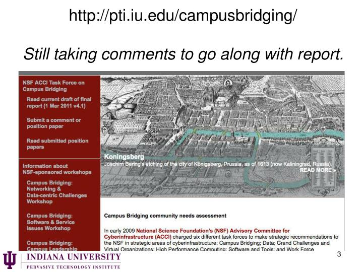 Http pti iu edu campusbridging still taking comments to go along with report