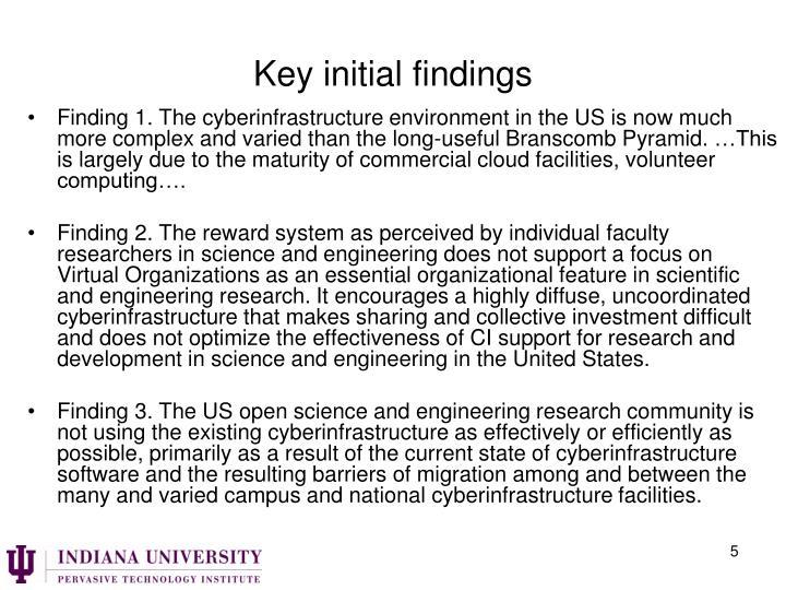 Key initial findings