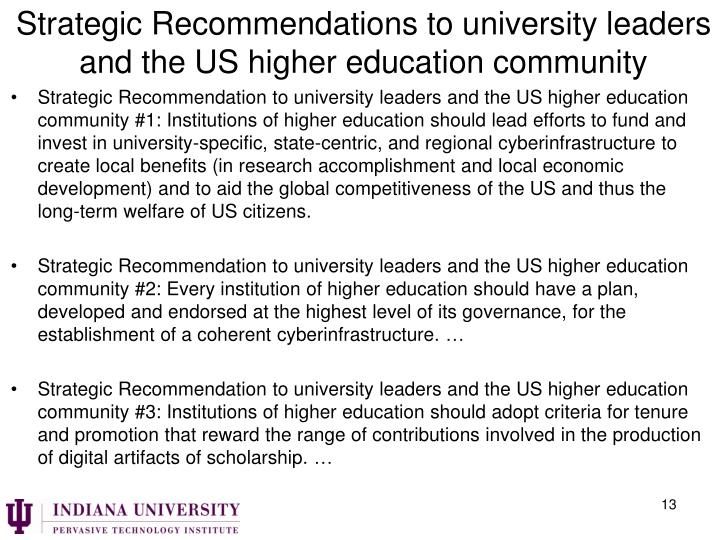 Strategic Recommendations to university leaders and the US higher education community