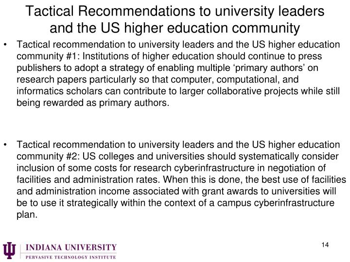 Tactical Recommendations to university leaders and the US higher education community