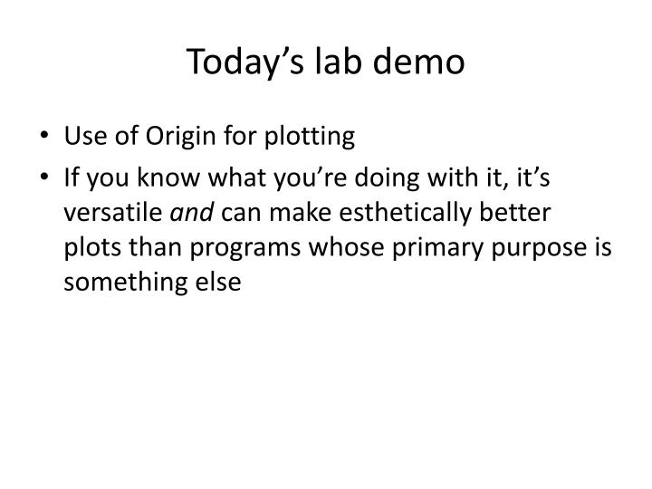 Today's lab demo