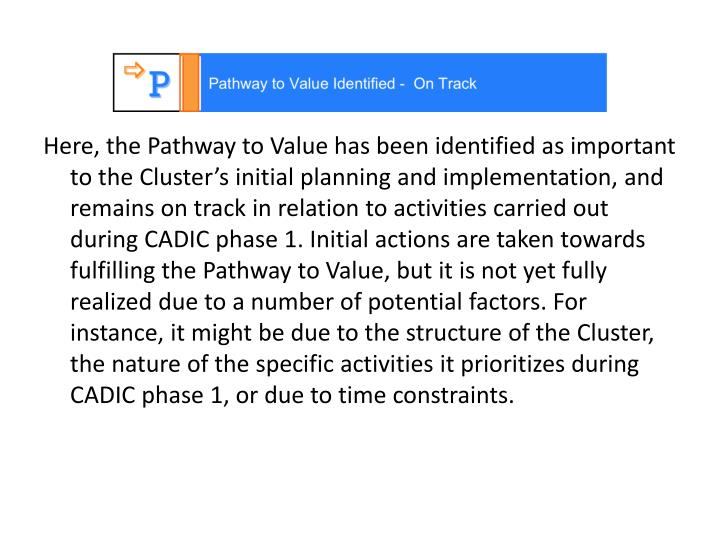 Here, the Pathway to Value has been identified as important to the Cluster's initial planning and implementation, and  remains on track in relation to activities carried out during CADIC phase 1. Initial actions are taken towards fulfilling the Pathway to Value, but it is not yet fully realized due to a number of potential factors. For instance, it might be due to the structure of the Cluster, the nature of the specific activities it prioritizes during CADIC phase 1, or due to time constraints.