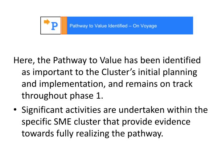 Here, the Pathway to Value has been identified as important to the Cluster's initial planning and implementation, and remains on track throughout phase 1.