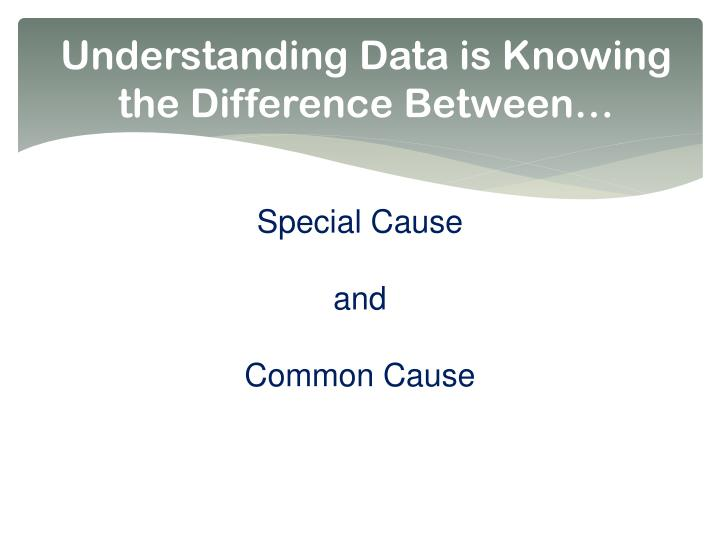 Understanding Data is Knowing the Difference Between…
