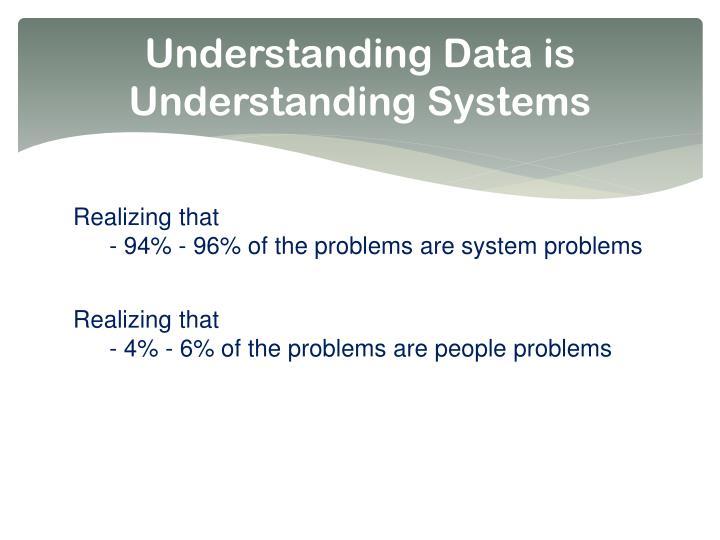 Understanding Data is Understanding Systems